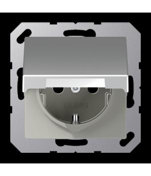 Розетка 2п+З 220В с крышкой автозажим, алюминий