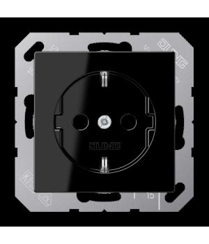 Розетка 2п+З 220В автозажим, черный
