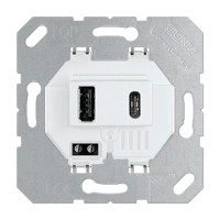 USB-зарядное устройство, тип A + тип C; суммарный выходной ток 3000 мА при 120…240 В; белый