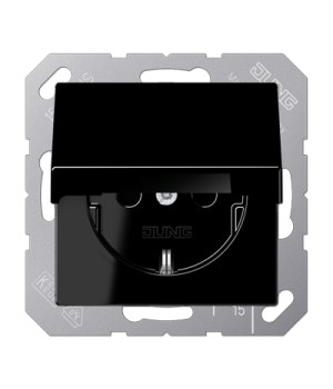 Розетка 2п+З 220В с крышкой автозажим, черный