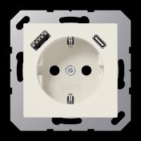 Розетка с USB-зарядным устройством, тип A + тип С; слоновая кость