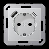Розетка с USB-зарядным устройством, тип A + тип С; алюминий