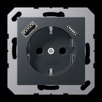 Розетка с USB-зарядным устройством, тип A + тип С; матовый антрацит