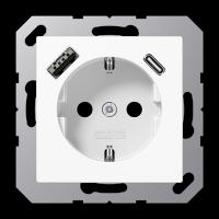 Розетка с USB-зарядным устройством, тип A + тип С; белый
