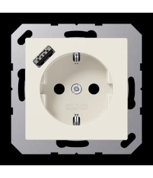 Розетка с USB-зарядным устройством, тип А; слоновая кость