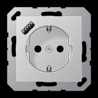 Розетка с USB-зарядным устройством, тип А; алюминий
