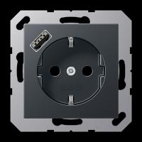 Розетка с USB-зарядным устройством, тип А; матовый антрацит