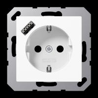 Розетка с USB-зарядным устройством, тип А; белый