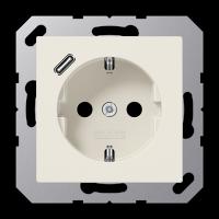 Розетка с USB-зарядным устройством, тип С; слоновая кость