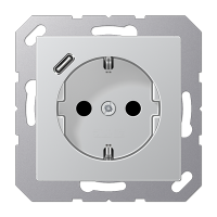 Розетка с USB-зарядным устройством, тип С; алюминий