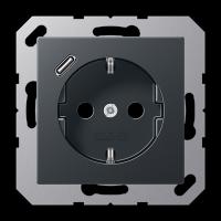 Розетка с USB-зарядным устройством, тип С; матовый антрацит