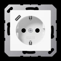 Розетка с USB-зарядным устройством, тип С; белый